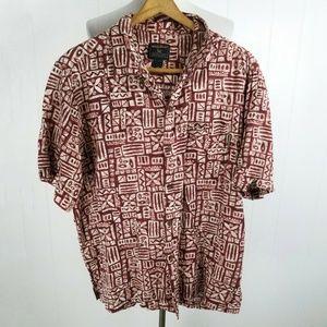 Woolrich Tiki Print Shirt Red Hawaiian Look Casual